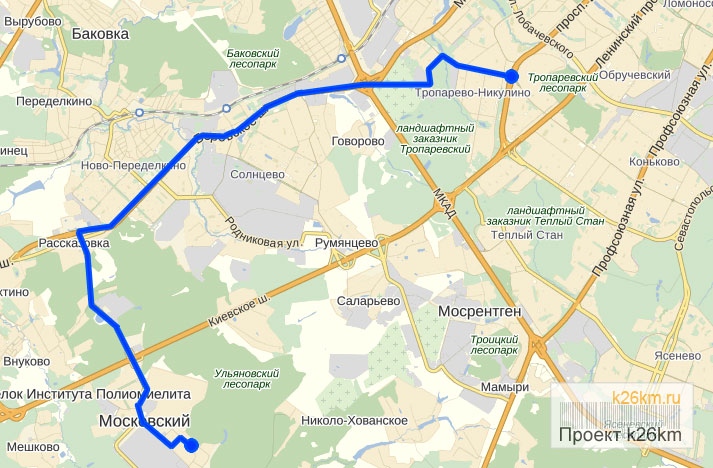 Схема движения маршрутки 801М
